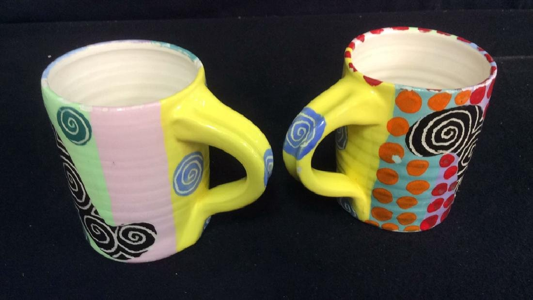 Signed Painted Pottery Lot Whimsical swirl and - 8