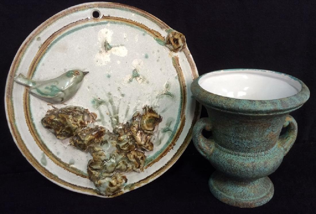 Pottery Display Plate And Urn Vase Hand made pottery