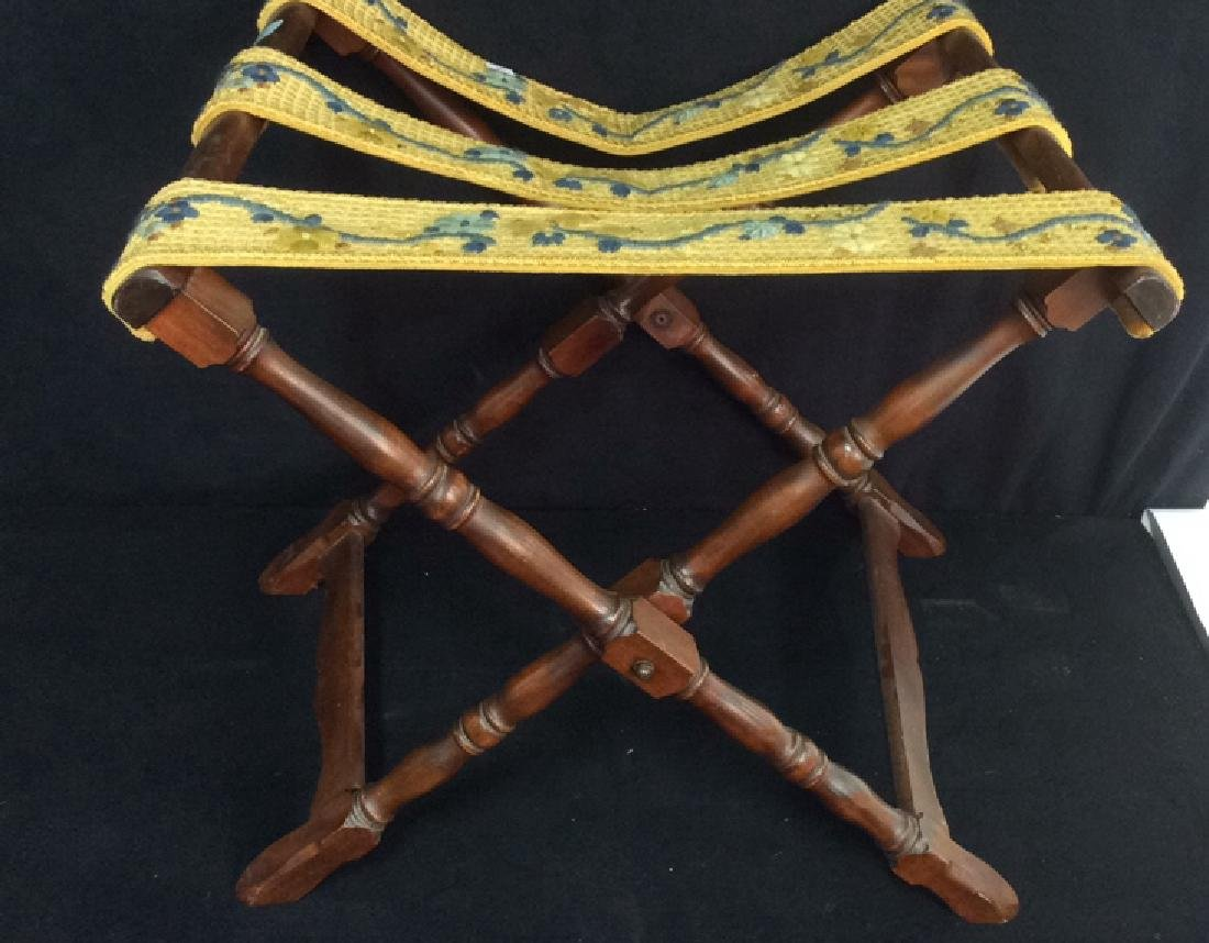 Vintage Carved Folding Luggage Rack Carved wood Luggage