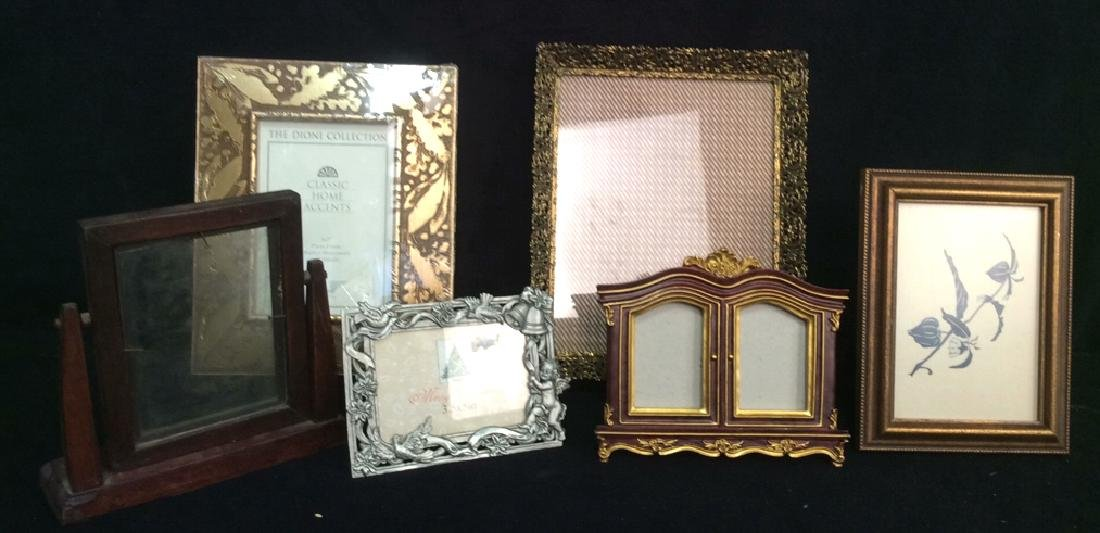 Group 6 Picture Frames, Brass , Wood, Pewter Antique
