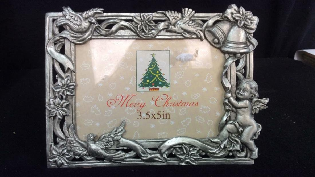 Group 6 Picture Frames, Brass , Wood, Pewter Antique - 4