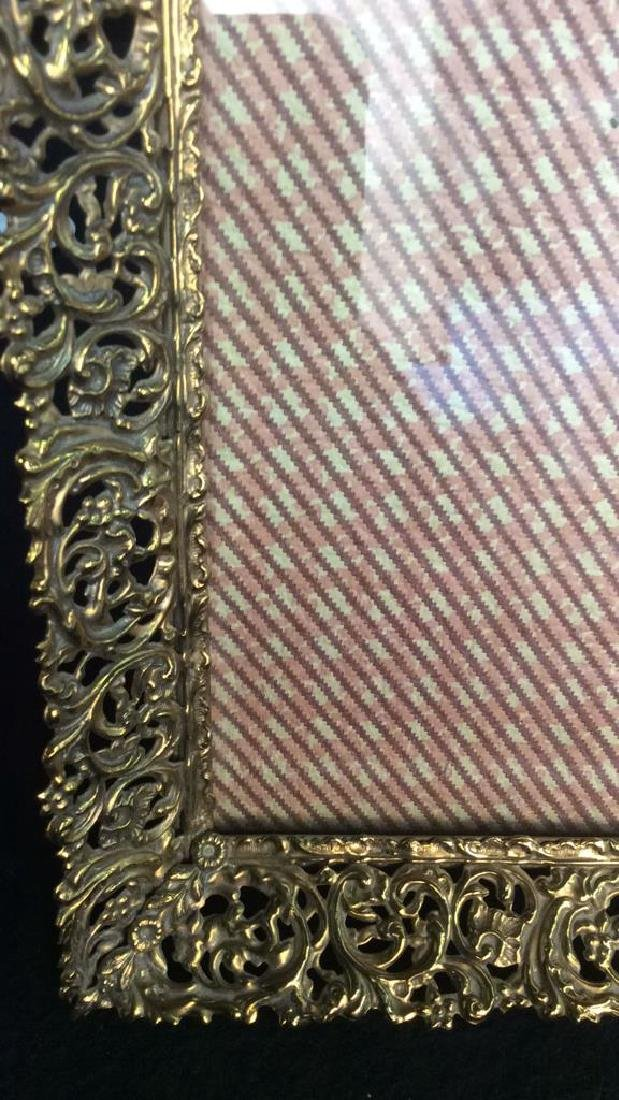Group 6 Picture Frames, Brass , Wood, Pewter Antique - 6