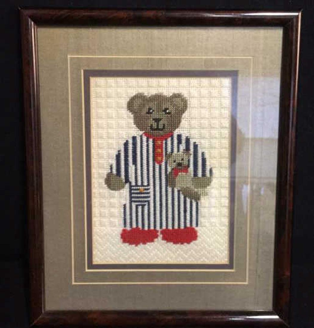 Framed Needlepoint Picture of A Toy Bear Framed