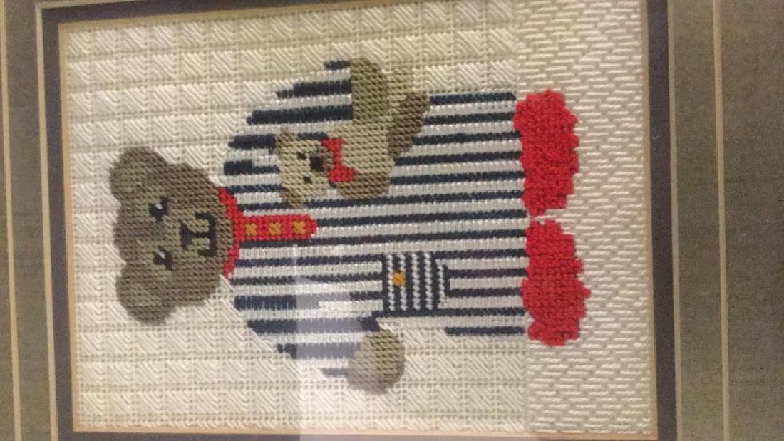 Framed Needlepoint Picture of A Toy Bear Framed - 4