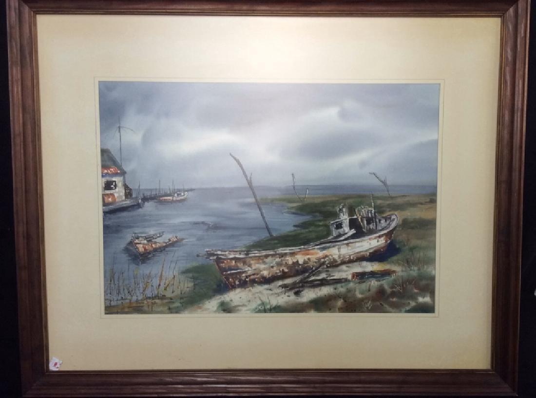 Framed Harbor Scene Artwork Joy Clayton Framed and