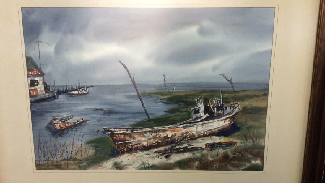 Framed Harbor Scene Artwork Joy Clayton Framed and - 2