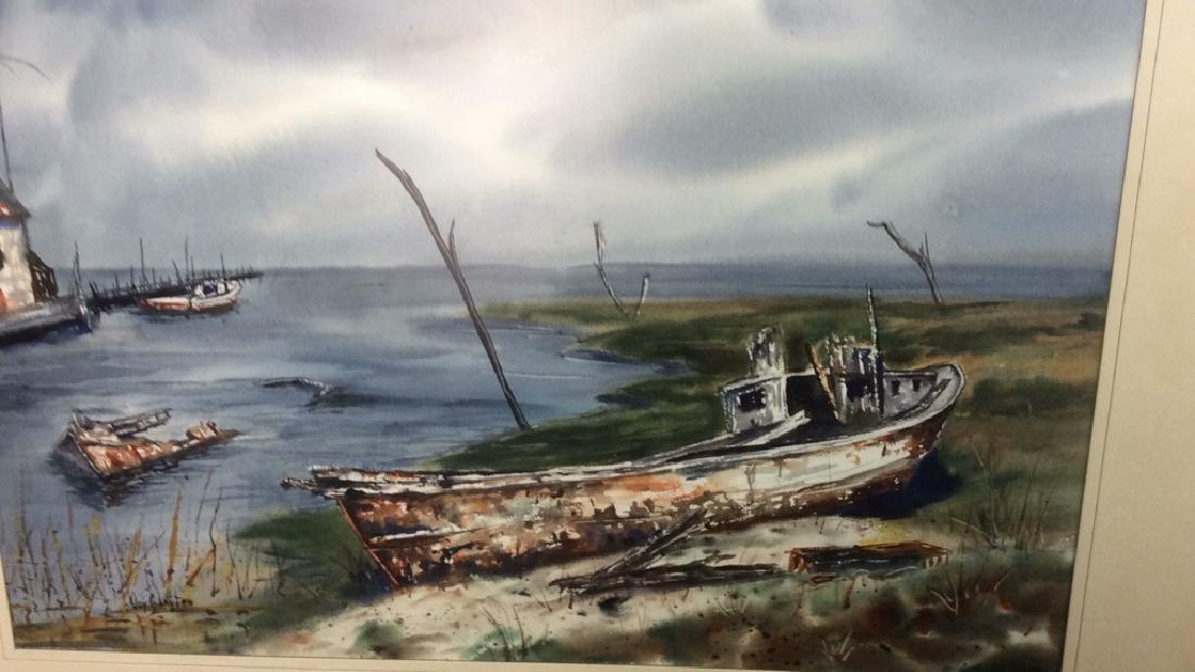 Framed Harbor Scene Artwork Joy Clayton Framed and - 3
