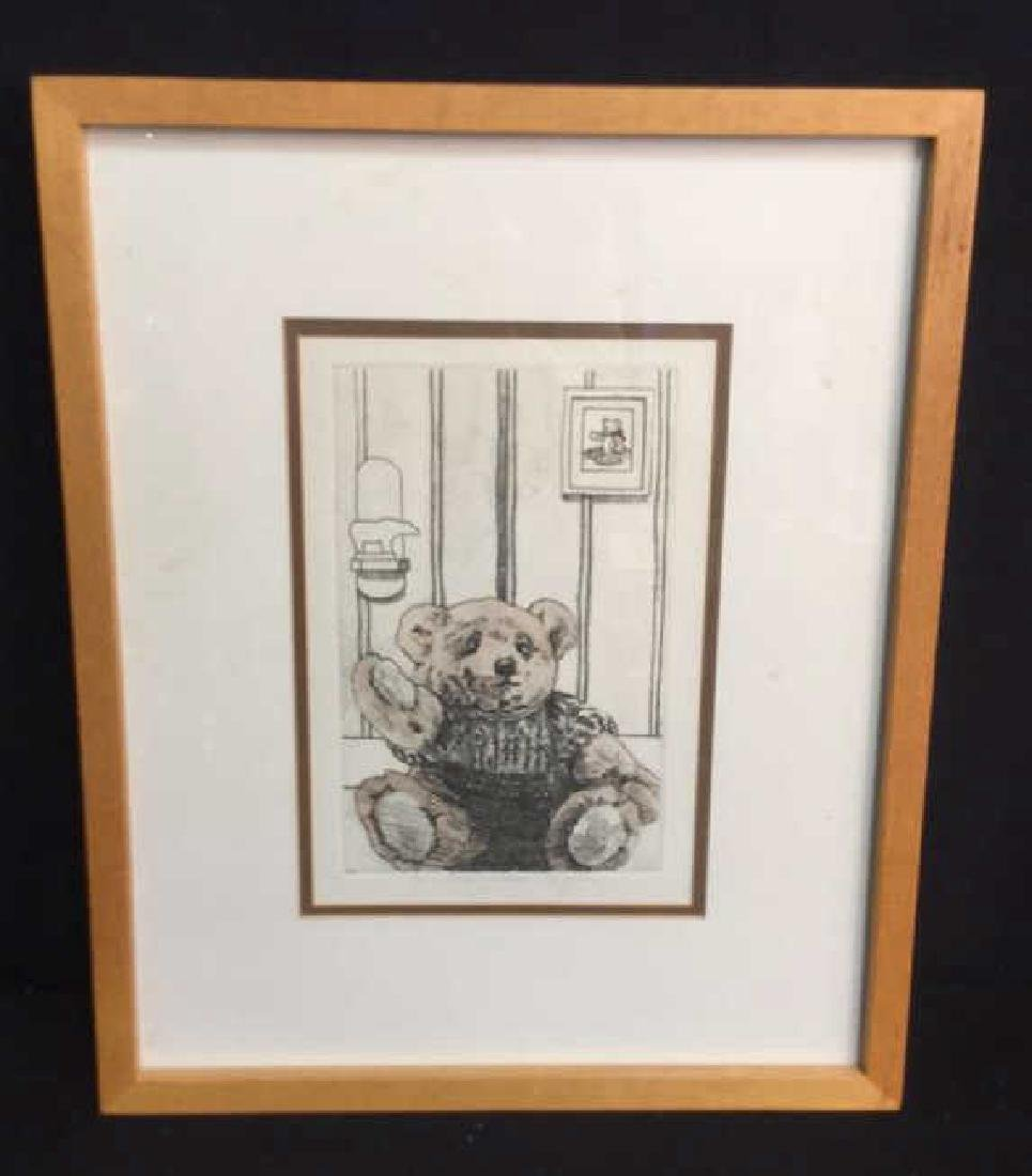 Framed Lithograph Of Teddy Bear Framed Lithograph Of