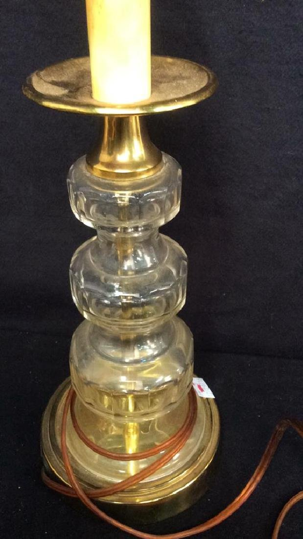 Three Crystal One Porcelain Lamp Group Three brass and - 6