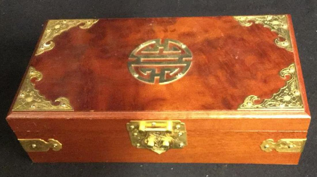 Wood And Brass Chinese Jewelry Box Jewelry box is