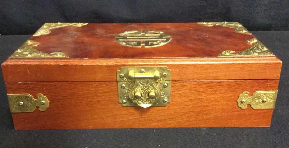 Wood And Brass Chinese Jewelry Box Jewelry box is - 2