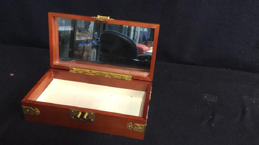 Wood And Brass Chinese Jewelry Box Jewelry box is - 3