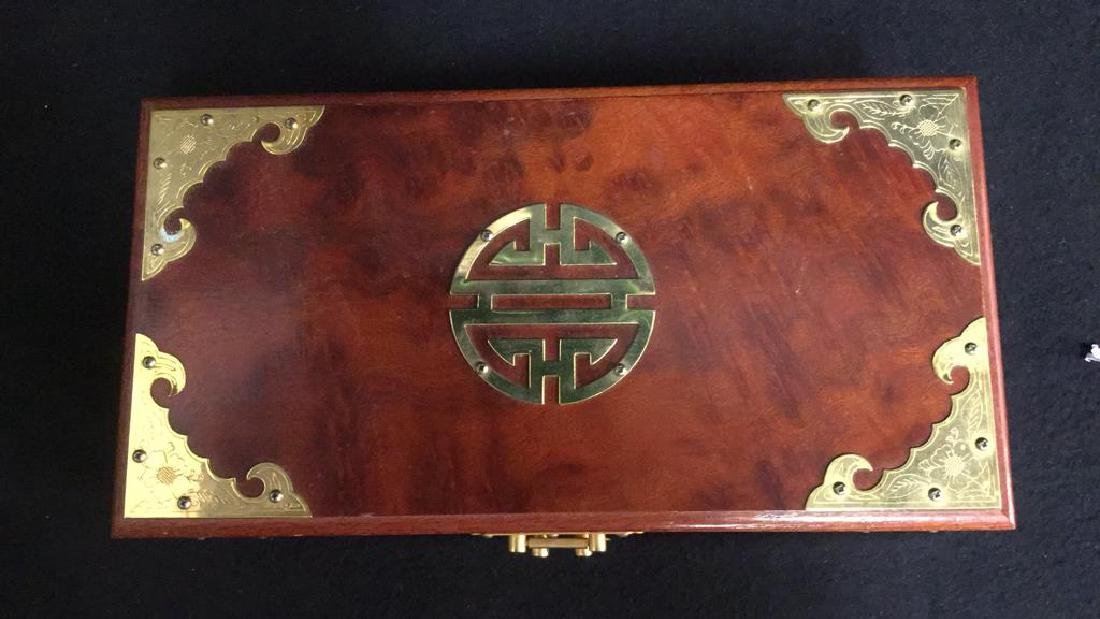 Wood And Brass Chinese Jewelry Box Jewelry box is - 4