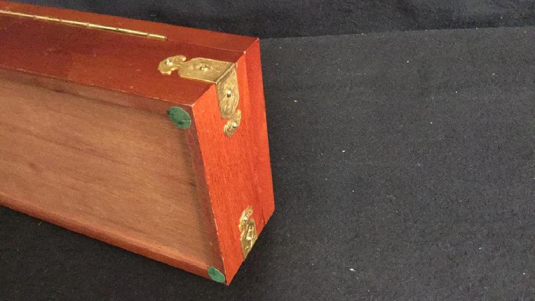 Wood And Brass Chinese Jewelry Box Jewelry box is - 5