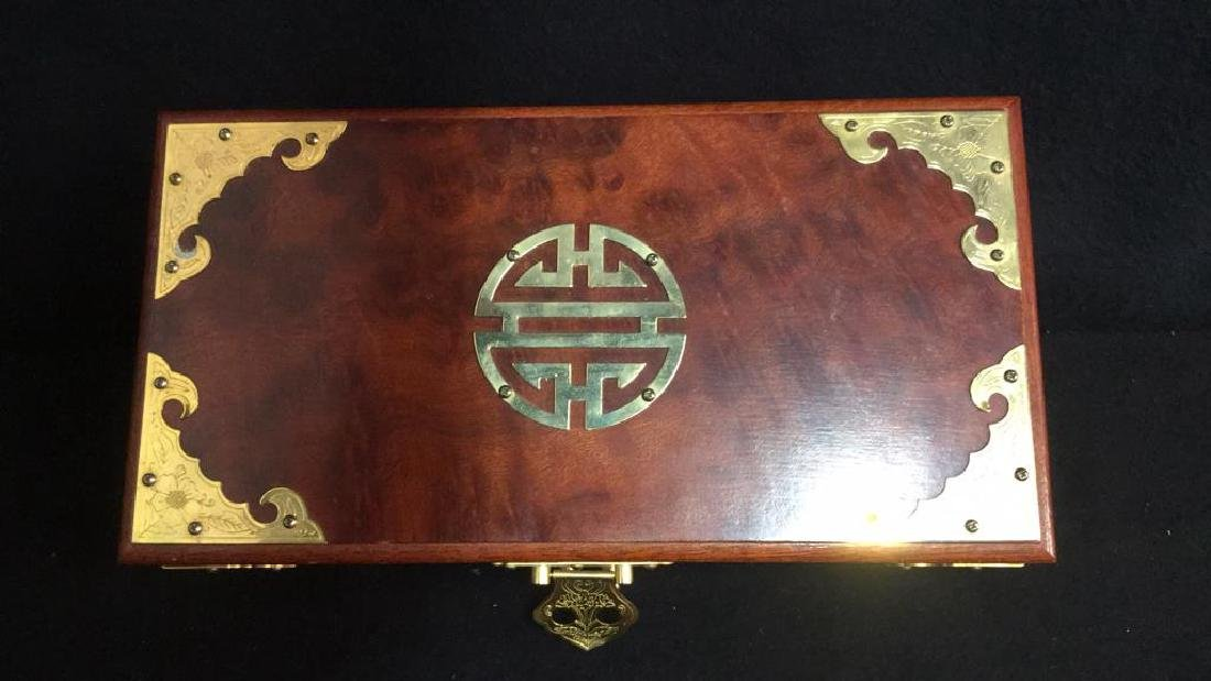 Wood And Brass Chinese Jewelry Box Jewelry box is - 7