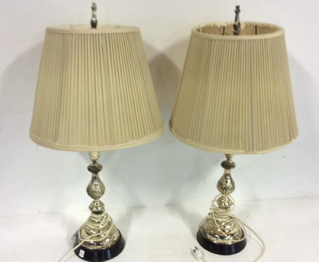 Flower Carved Silver Plated Table Lamps 2 identical
