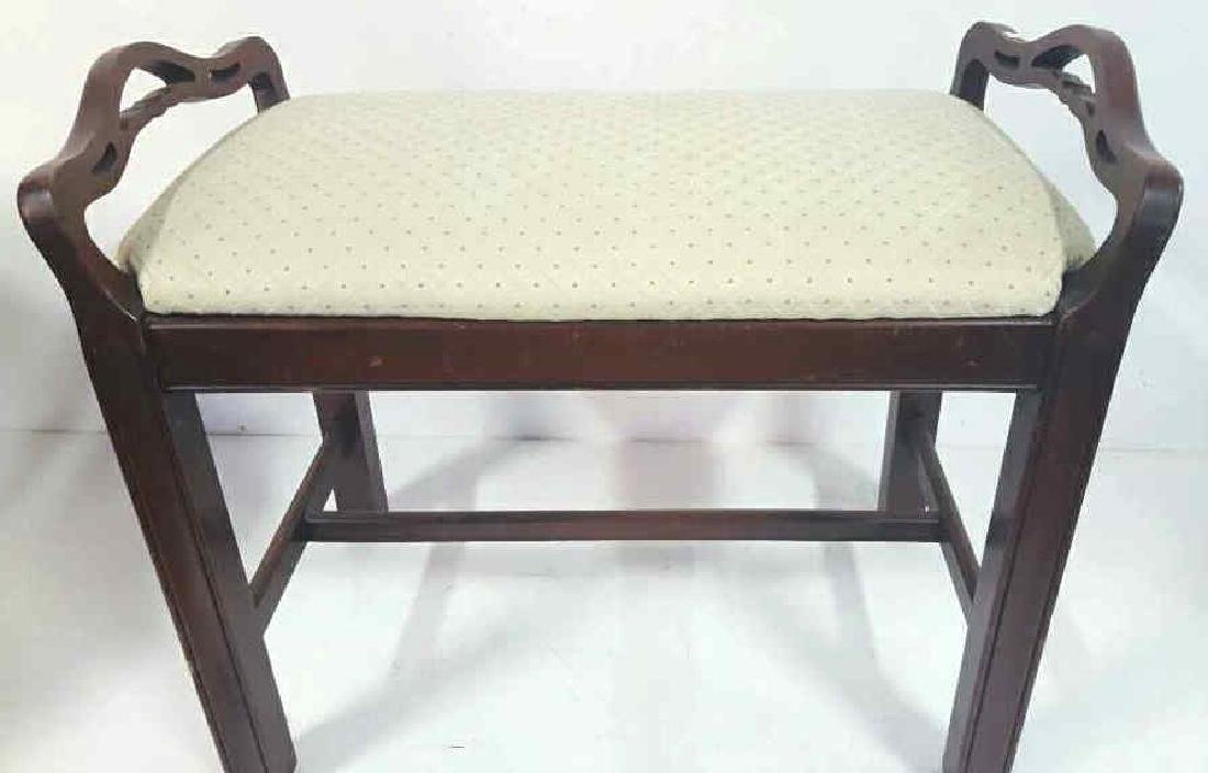 Carved and Upholstered Bench Carved and upholstered
