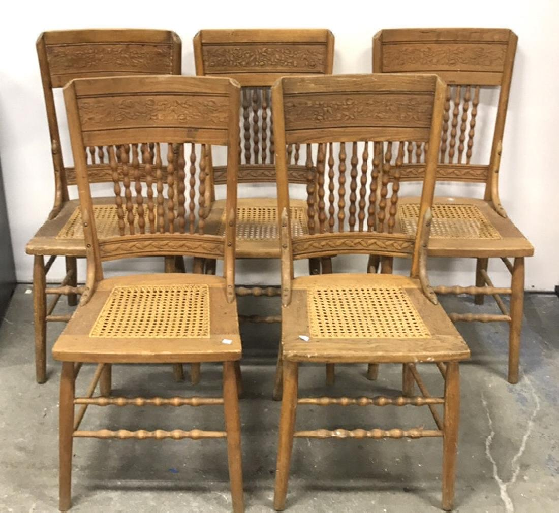 5 Piece Set Vintage Wood & Cane Seat Chairs 5 Piece Set