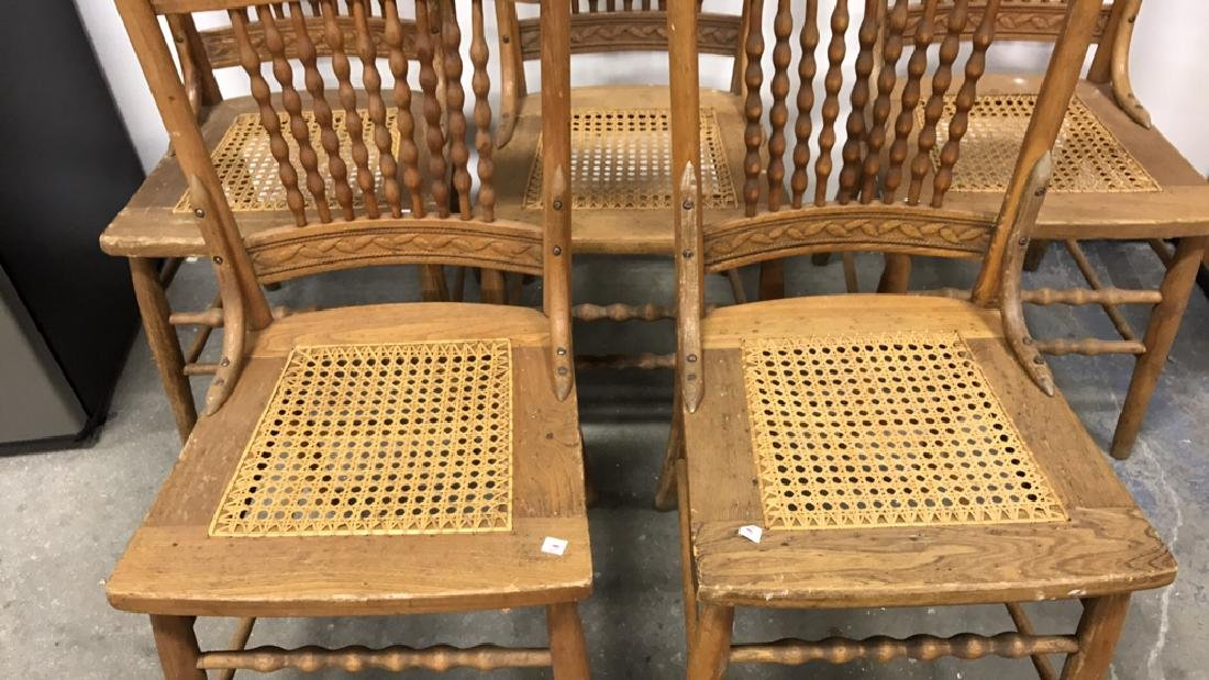 5 Piece Set Vintage Wood & Cane Seat Chairs 5 Piece Set - 2