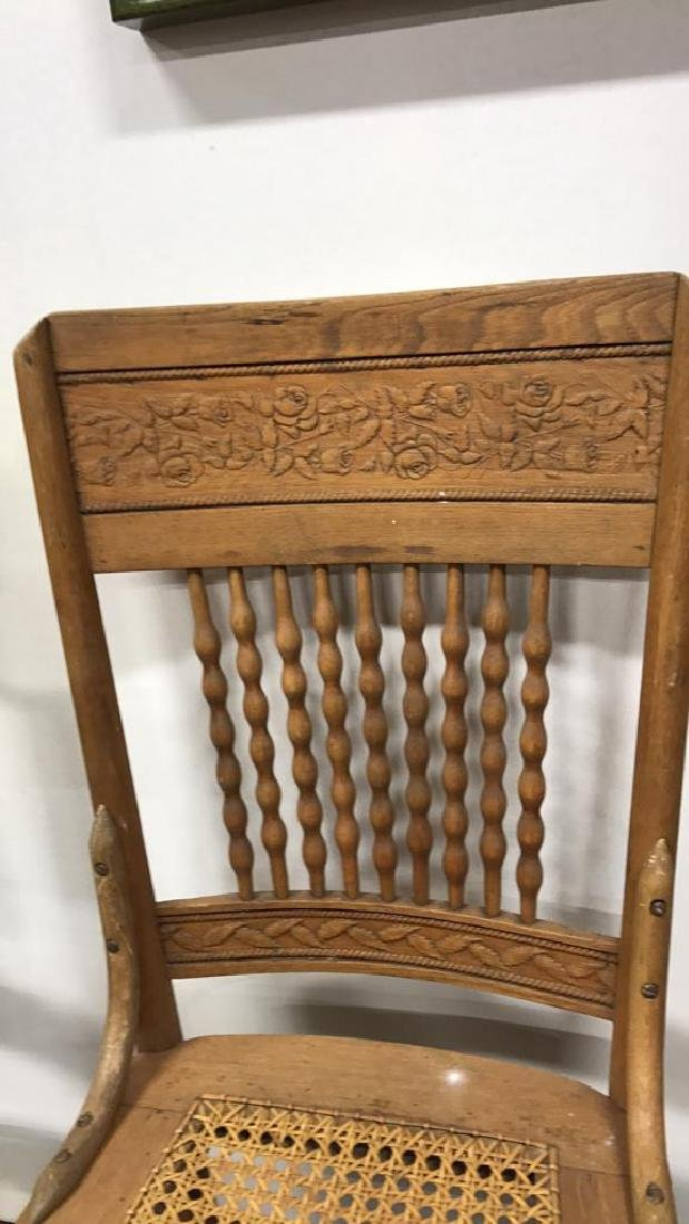 5 Piece Set Vintage Wood & Cane Seat Chairs 5 Piece Set - 4