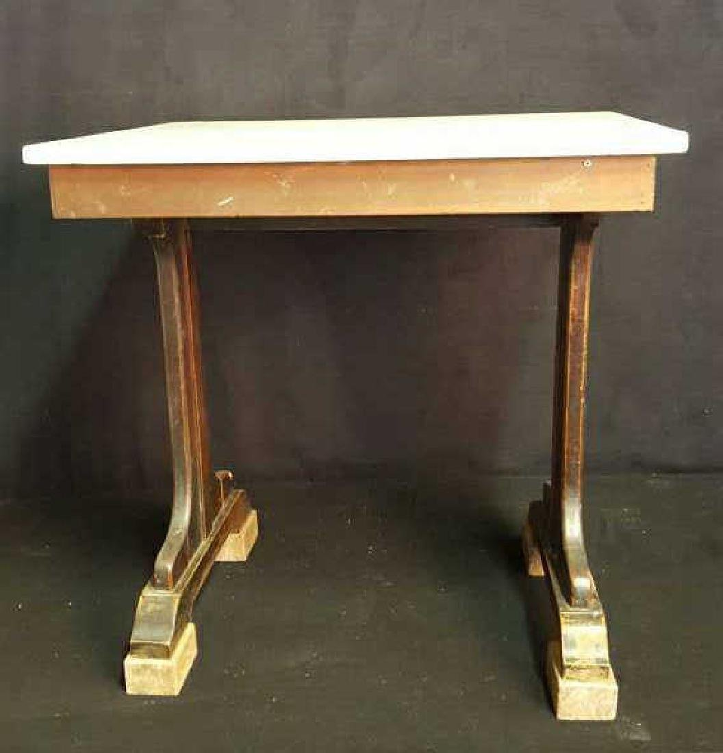 Marble and Wood Side Table Marble and Wood Side Table,
