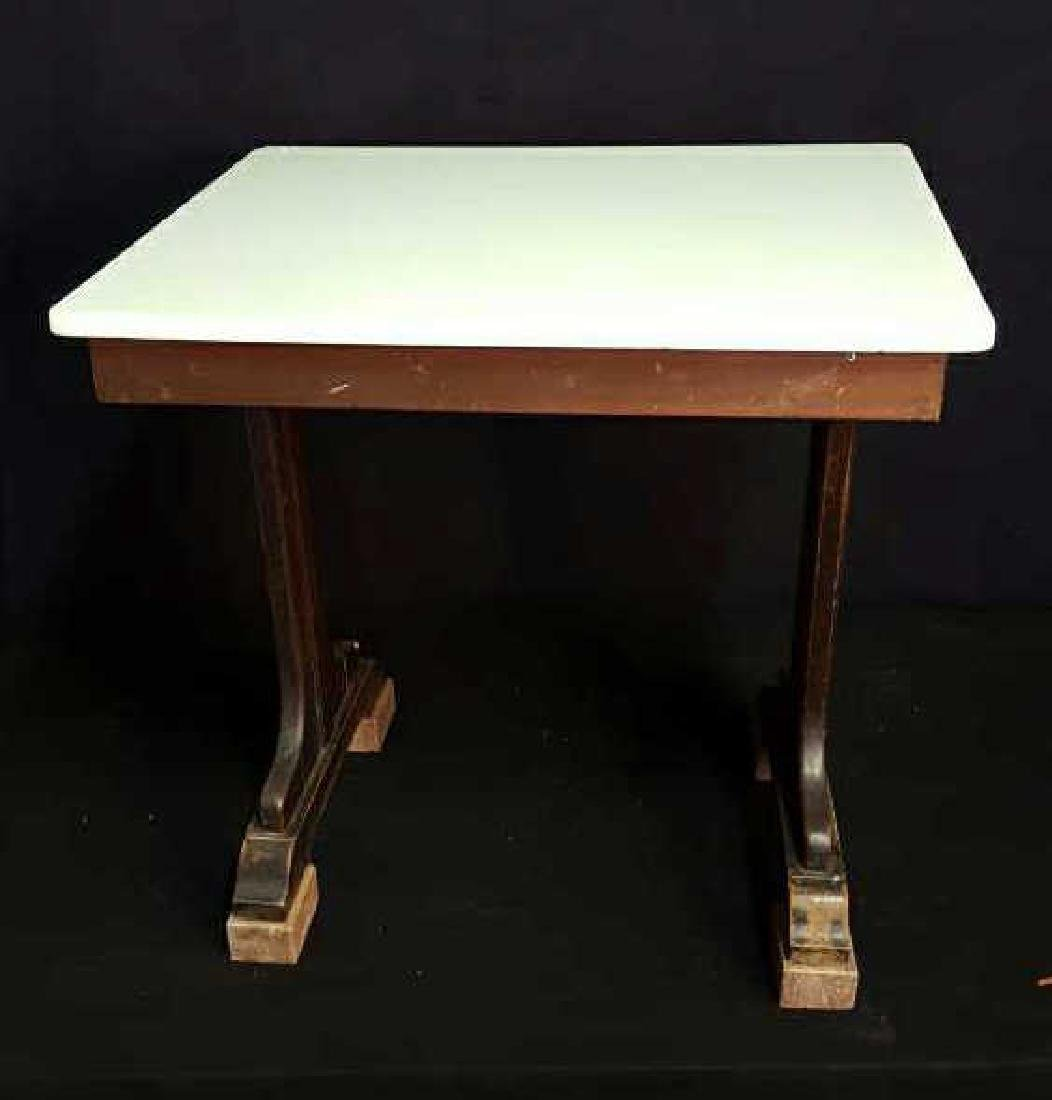 Marble and Wood Side Table Marble and Wood Side Table, - 2