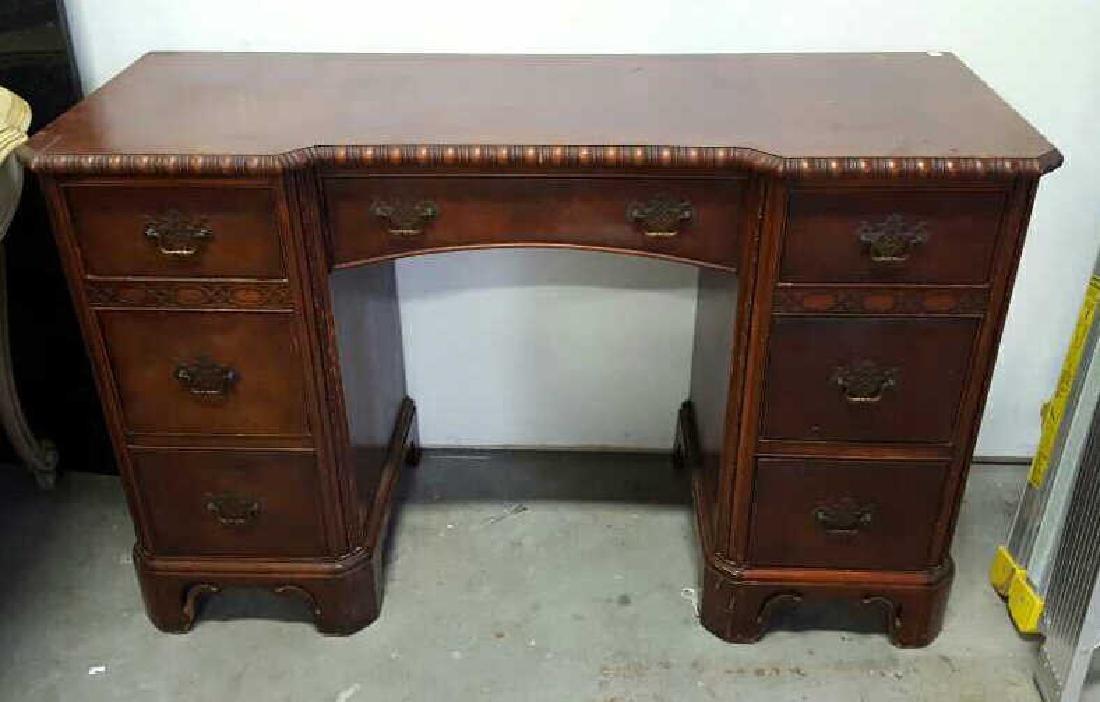 Vintage HATHAWAY'S Wood Desk Vintage Seven Drawer Wood