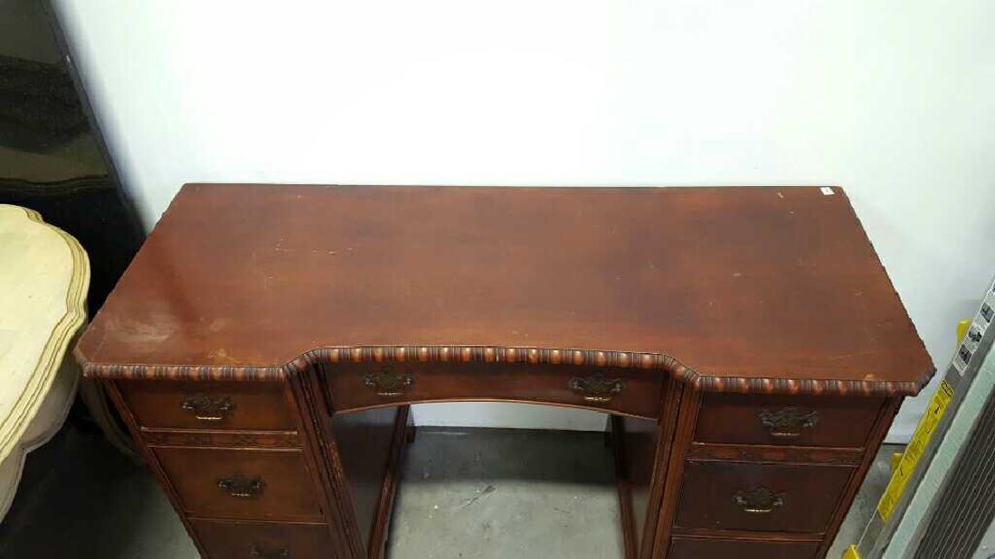 Vintage HATHAWAY'S Wood Desk Vintage Seven Drawer Wood - 2