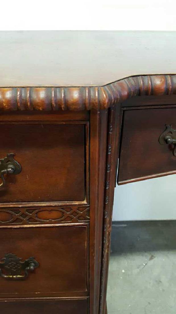 Vintage HATHAWAY'S Wood Desk Vintage Seven Drawer Wood - 4