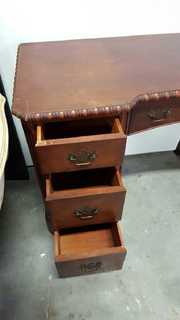Vintage HATHAWAY'S Wood Desk Vintage Seven Drawer Wood - 7