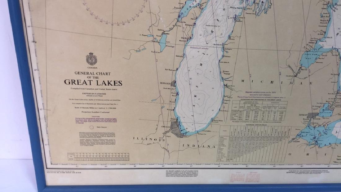 Framed Map Of The Great Lakes General Chart Of The - 2