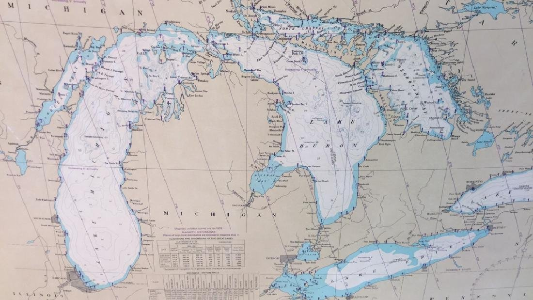 Framed Map Of The Great Lakes General Chart Of The - 7