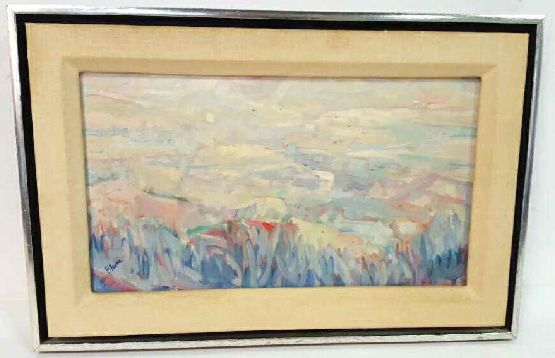 Signed Blum Painting Abstract on Cavas Signed Blum