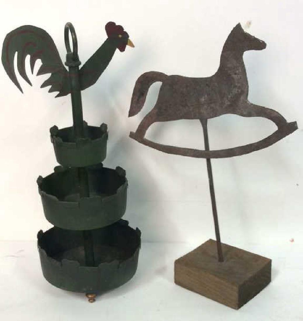 Antique Metal Horse & Metal Rooster