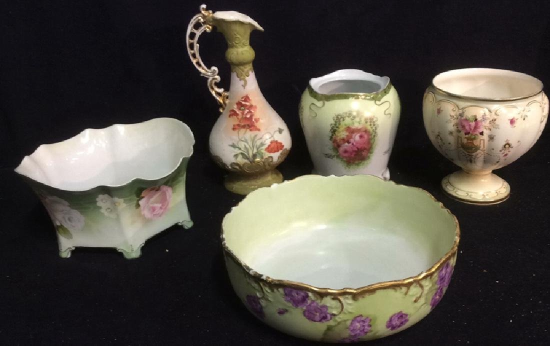 Group Hand Painted Victorian Porcelain Gold trimmed,