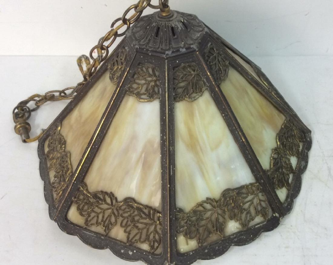 Art Deco Style Slag Glass And Beaded