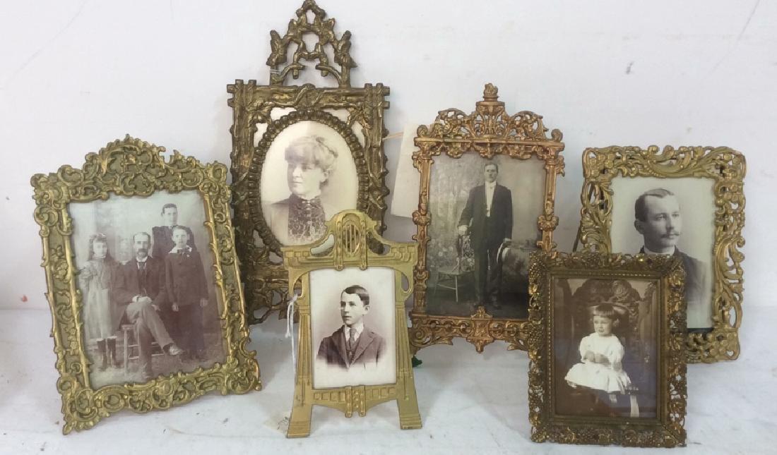 Group 6  Antique Victorian Picture Frames Brass Bronze