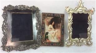 3 Antique Metal Picture Frames First Art Nouveau