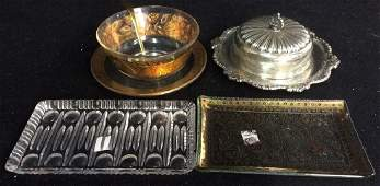 Vintage gold glass silver plate Group Lot table top