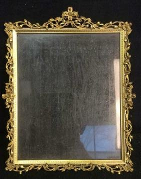 Antique Gilded Metal Picture Frame Large gilded metal
