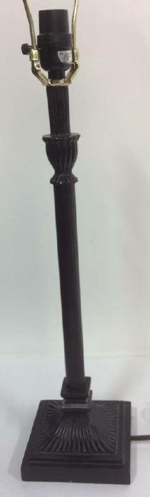 Painted Black Metal Table Lamp Reeded stick form lamp