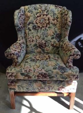 Brocade Upholstered Wing Chair Mahogany frame