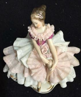 Vintage Dresden Porcelain Ballerina Collectible