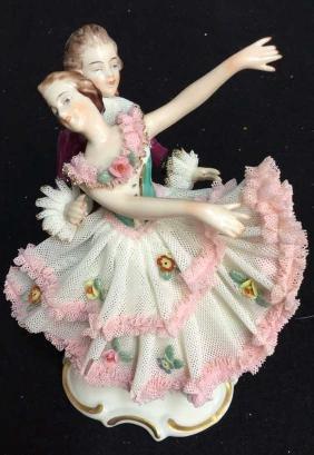Vintage Dresden Porcelain Dancers Collectible