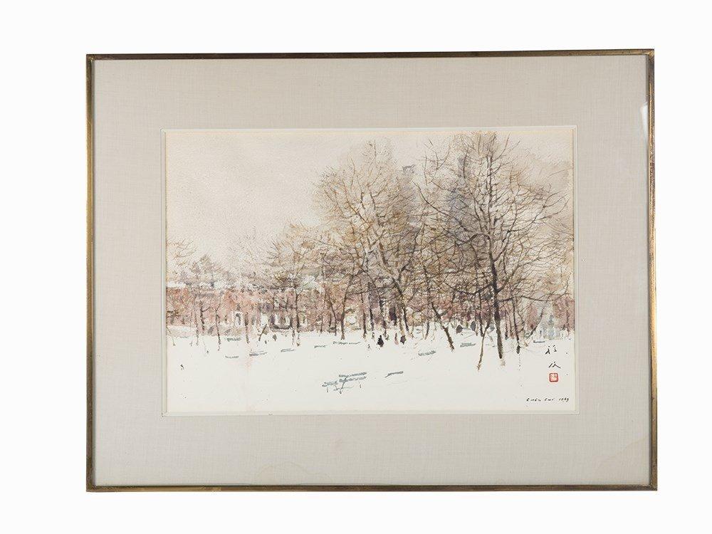 Chen Chi, Watercolor, 'Winter Trees', 1969