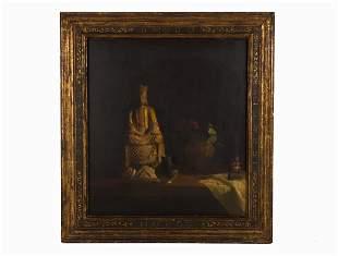 Hovsep Pushman, Oil on panel, 'Solitude'