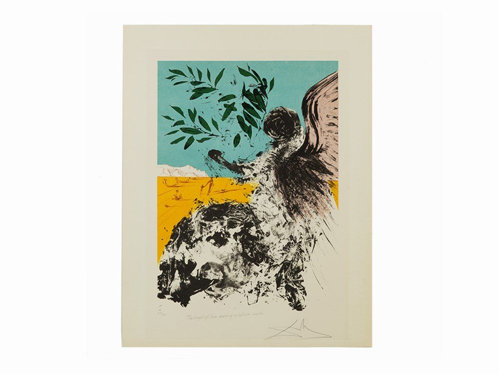 Salvador Dalí, Lithograph, The Angel of Peace, 1973