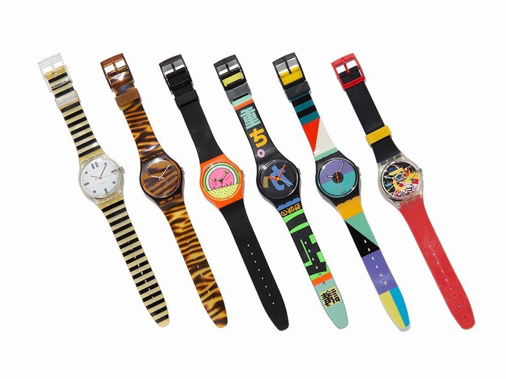 Collection of Six Swatch Wristwatches, c. 1985