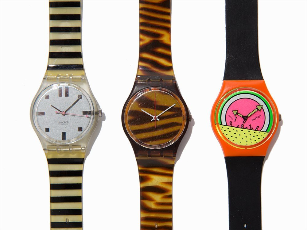 Collection of Six Swatch Wristwatches, c. 1985 - 2
