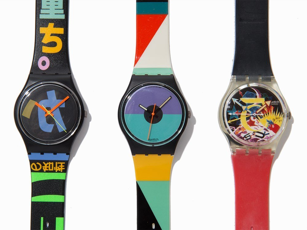Collection of Six Swatch Wristwatches, c. 1985 - 5
